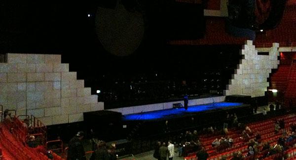 Väggen i The Wall innan föreställningen har börjat